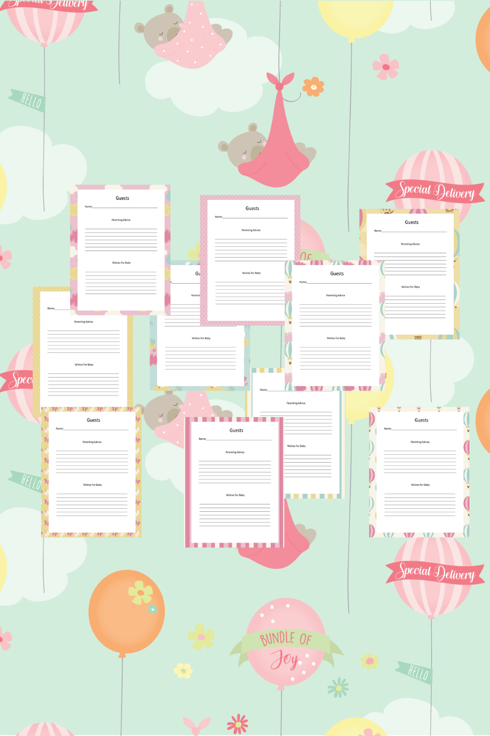 Baby Girl Guest Journal Printable Pages For Baby Showers Mockup 5