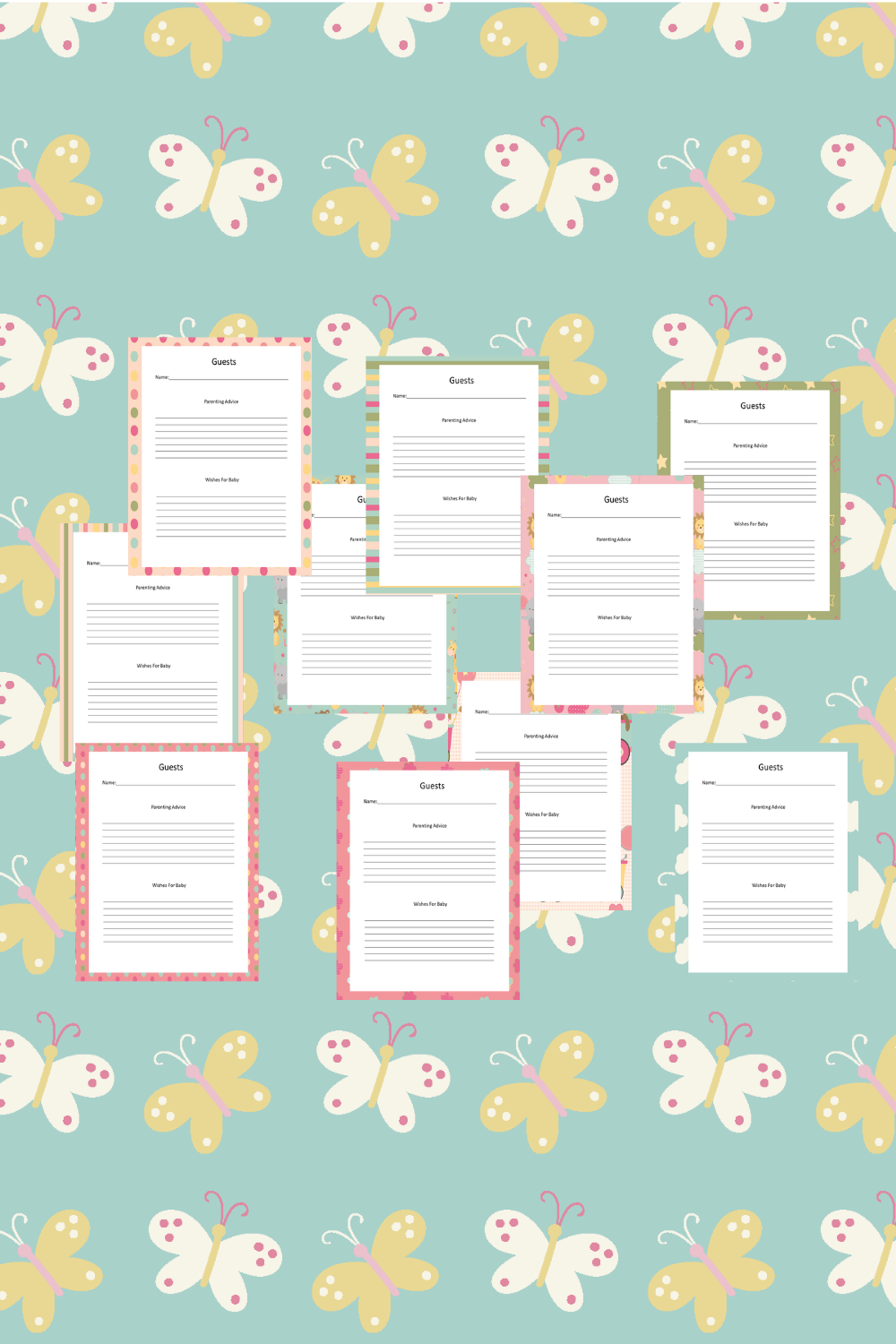 Baby Girl Guest Journal Printable Pages For Baby Showers Mockup 8