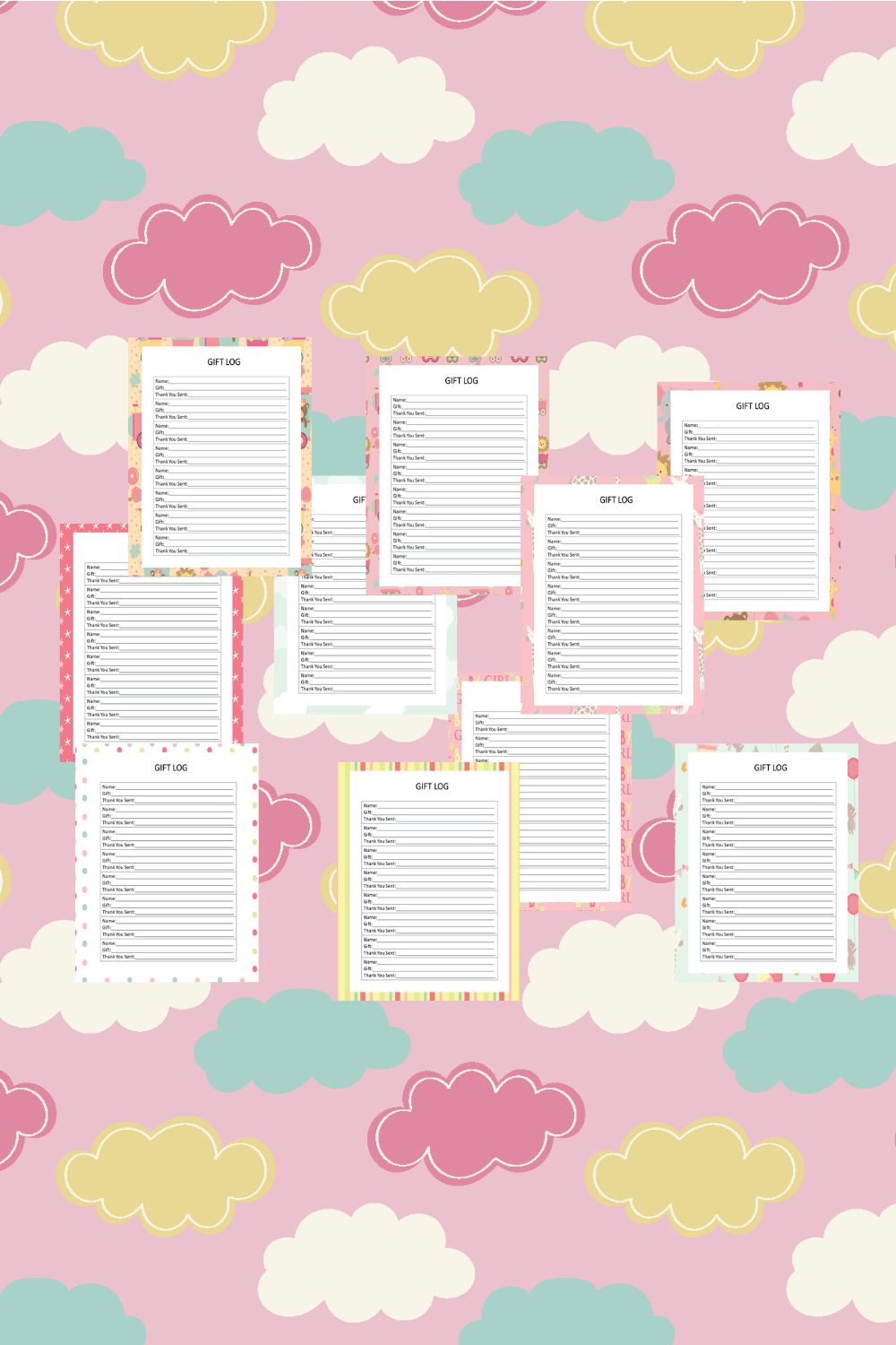 Baby Girl Guest Journal Printable Pages For Baby Showers Mockup 12