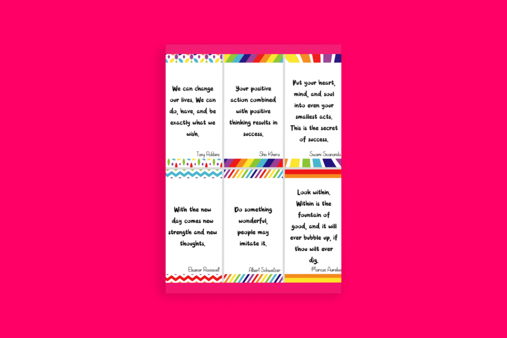 Big Happy Heart Positivity Morning Journal Printable Quote Cards Set 4