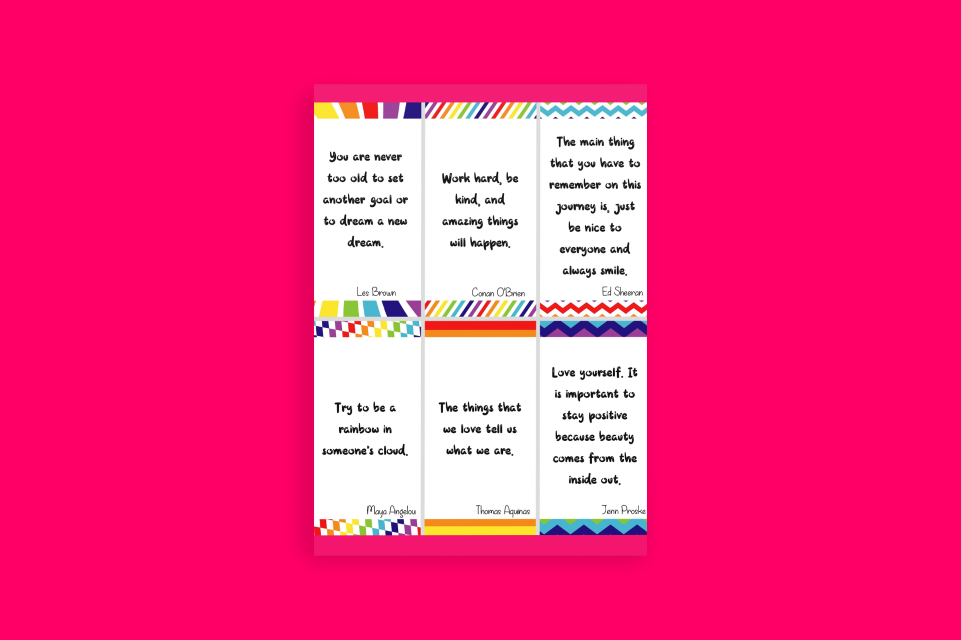 Big Happy Heart Positivity Morning Journal Printable Quote Cards Set 1