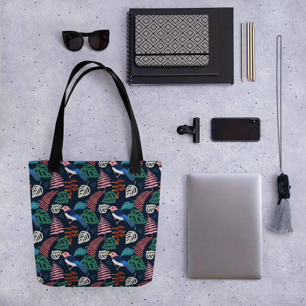 Lovely Spring Pattern 1 Navy All-Over Print Tote Bag