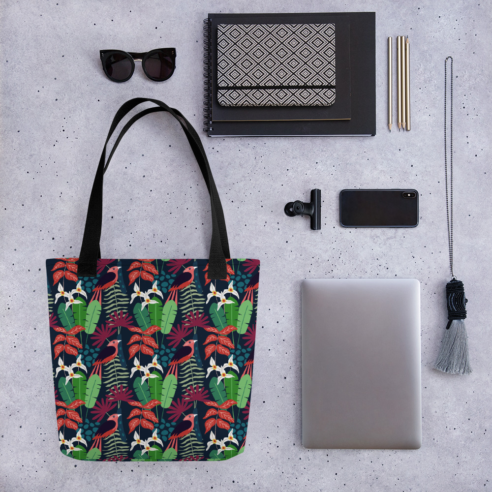 Lovely Spring Pattern 2 Navy All-Over Print Tote Bag