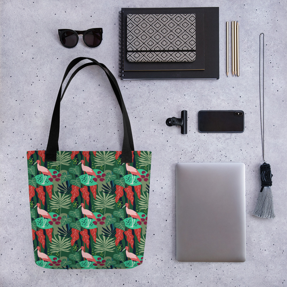 Lovely Spring Yay Pattern 3 Green All-Over Print Tote Bag