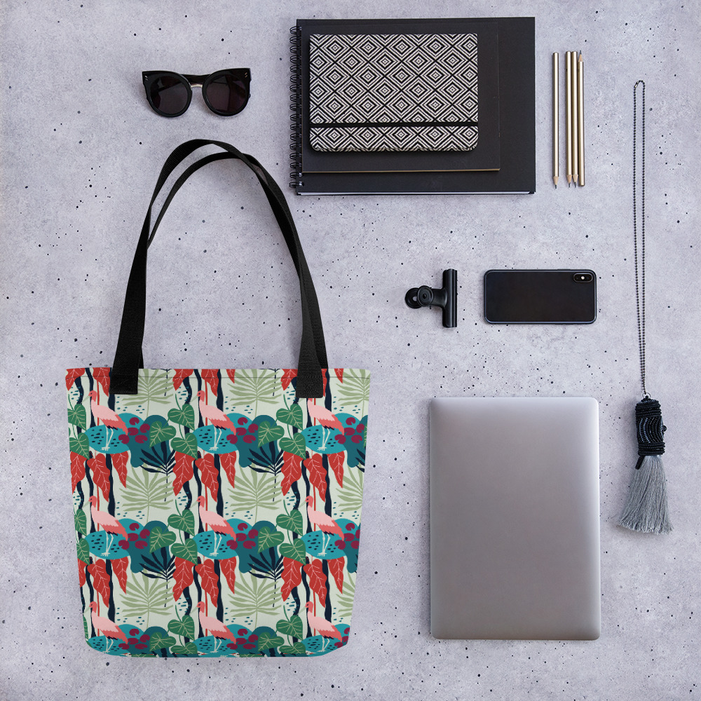 Lovely Spring Pattern 3 Green All-Over Print Tote Bag