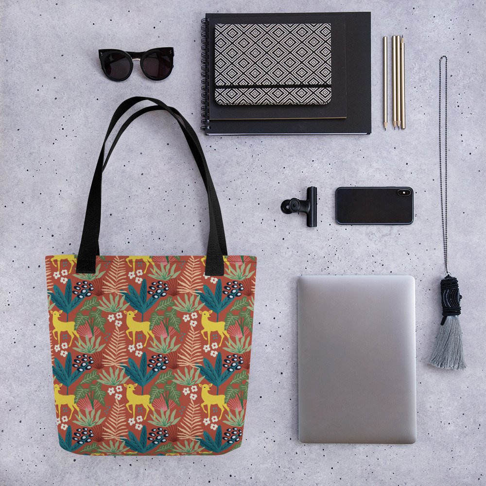 Lovely Spring Pattern 4 Brown All-Over Print Tote Bag