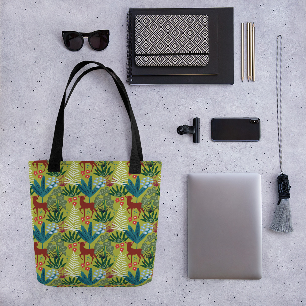 Lovely Spring Pattern 4 Green All-Over Print Tote Bag