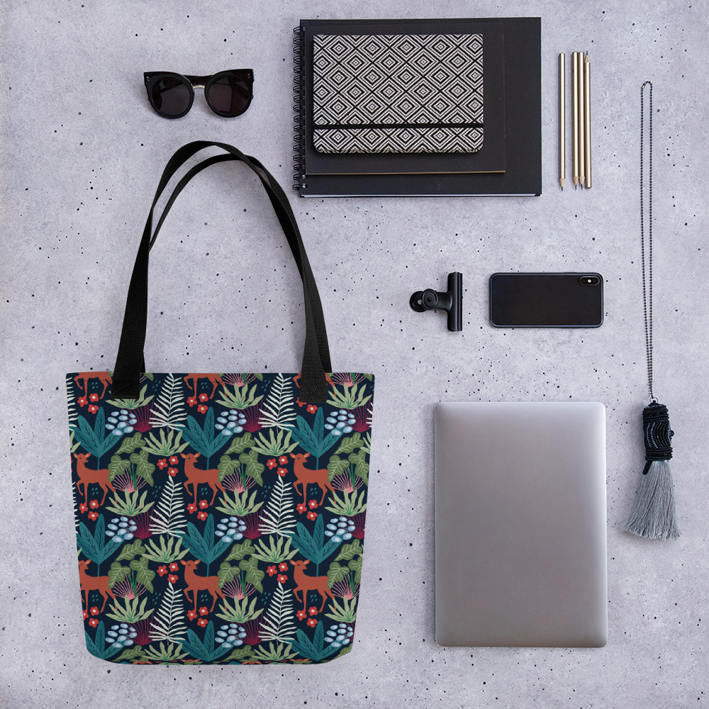 Lovely Spring Pattern 4 Navy All-Over Print Tote Bag