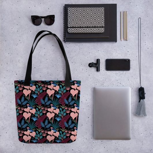 Lovely Spring Pattern 5 Black All-Over Print Tote Bag