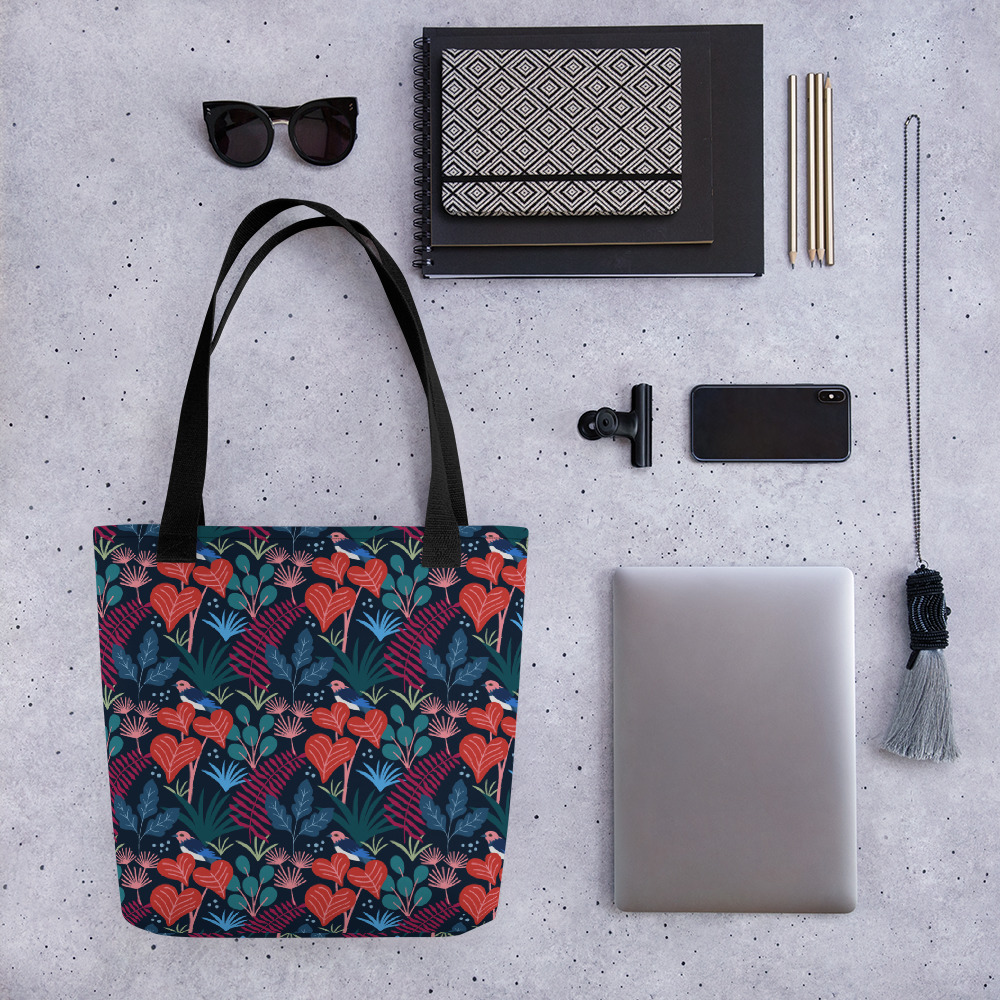 Lovely Spring Pattern 5 Navy All-Over Print Tote Bag