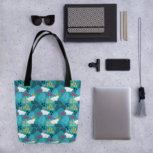 Lovely Spring Pattern 6 Blue All-Over Print Tote Bag