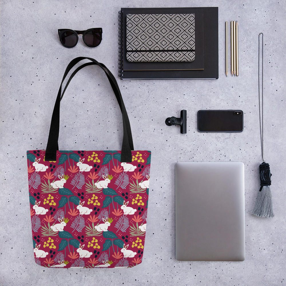 Lovely Spring Pattern 6 Magenta All-Over Print Tote Bag
