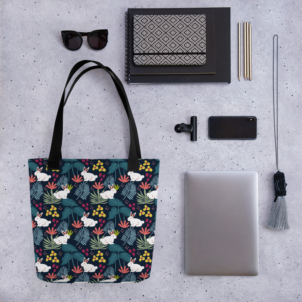 Lovely Spring Pattern 6 Navy All-Over Print Tote Bag