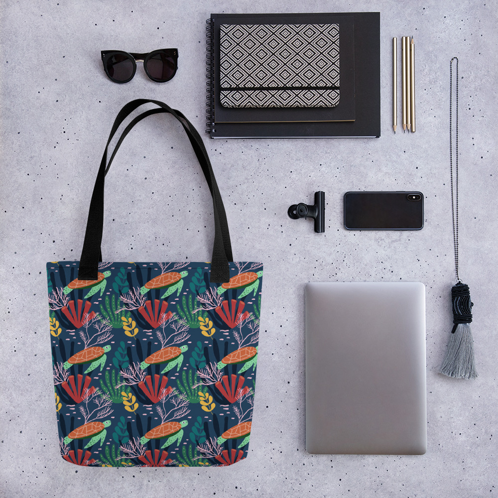 Lovely Spring Pattern 7 Blue All-Over Print Tote Bag