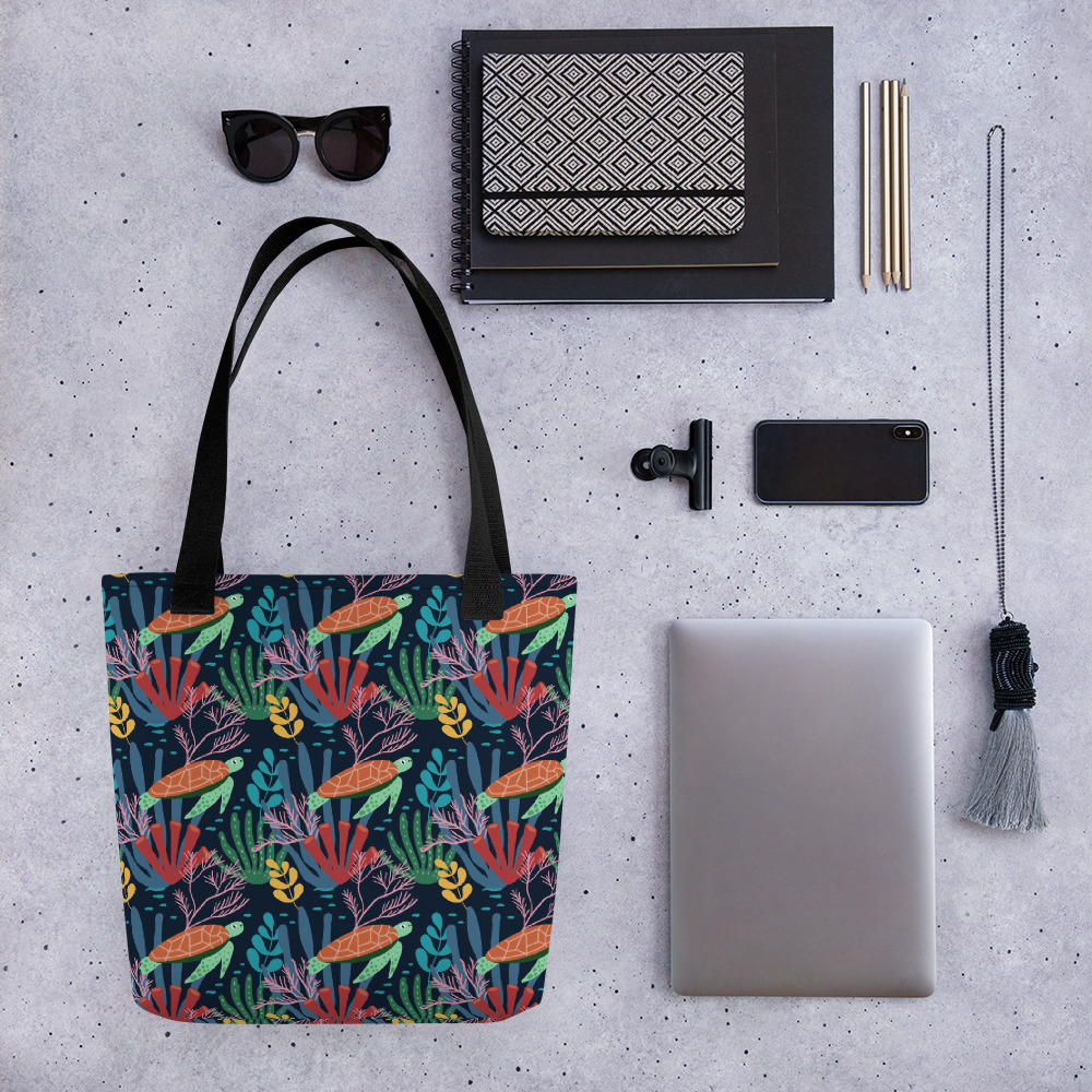 Lovely Spring Pattern 7 Navy All-Over Print Tote Bag
