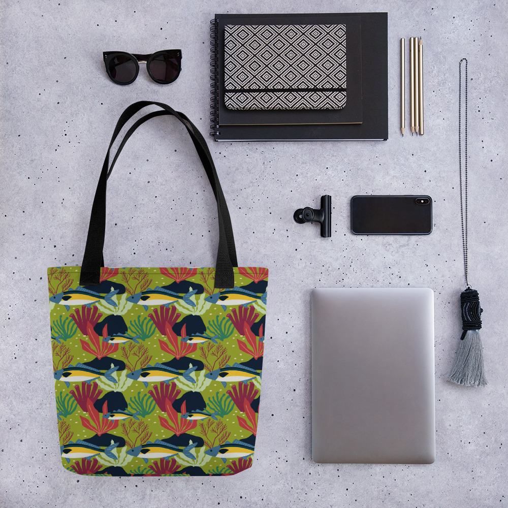 Lovely Spring Pattern 8 Green All-Over Print Tote Bag