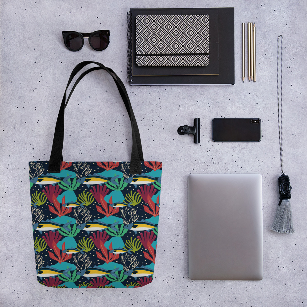 Lovely Spring Pattern 8 Navy Blue All-Over Print Tote Bag