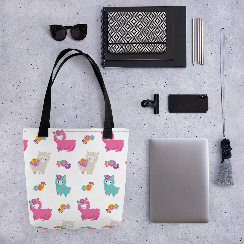Spring Floral Llama White All-Over Print Tote Bag