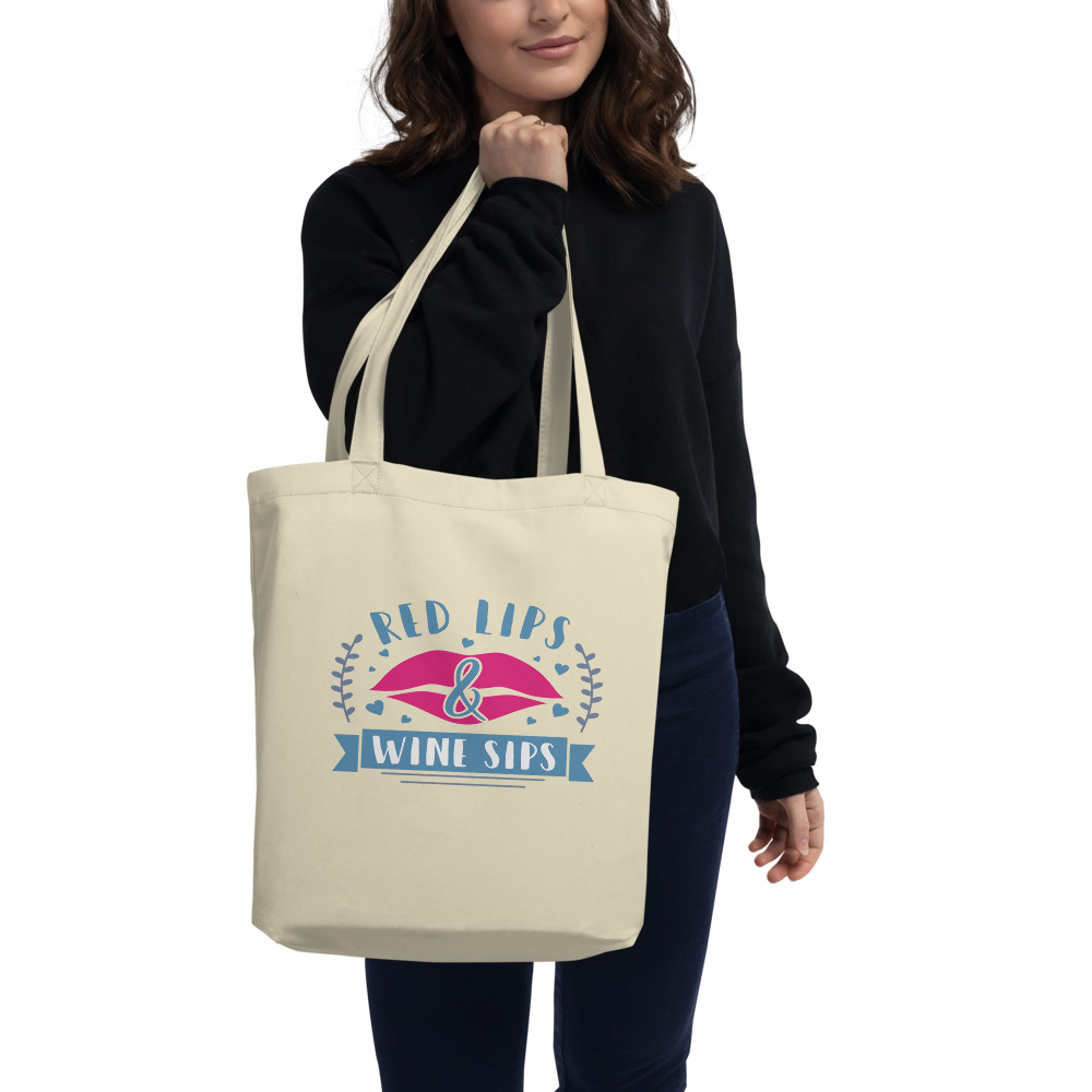 Red Lips And Wine Sips Eco Tote Bag