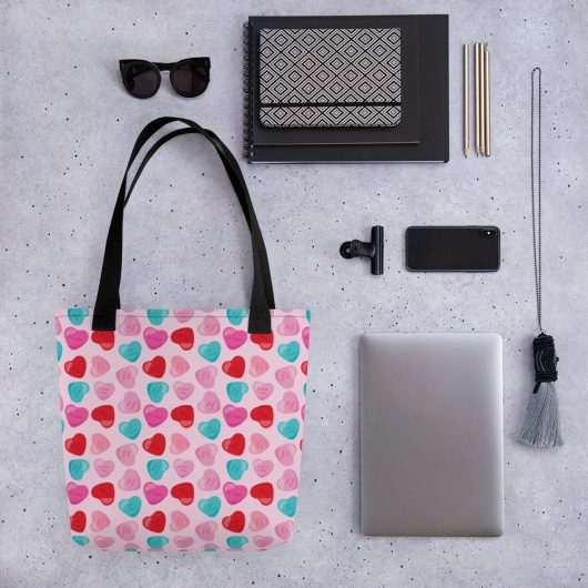 Give You My Candy Hearts All-Over Print Tote Bag