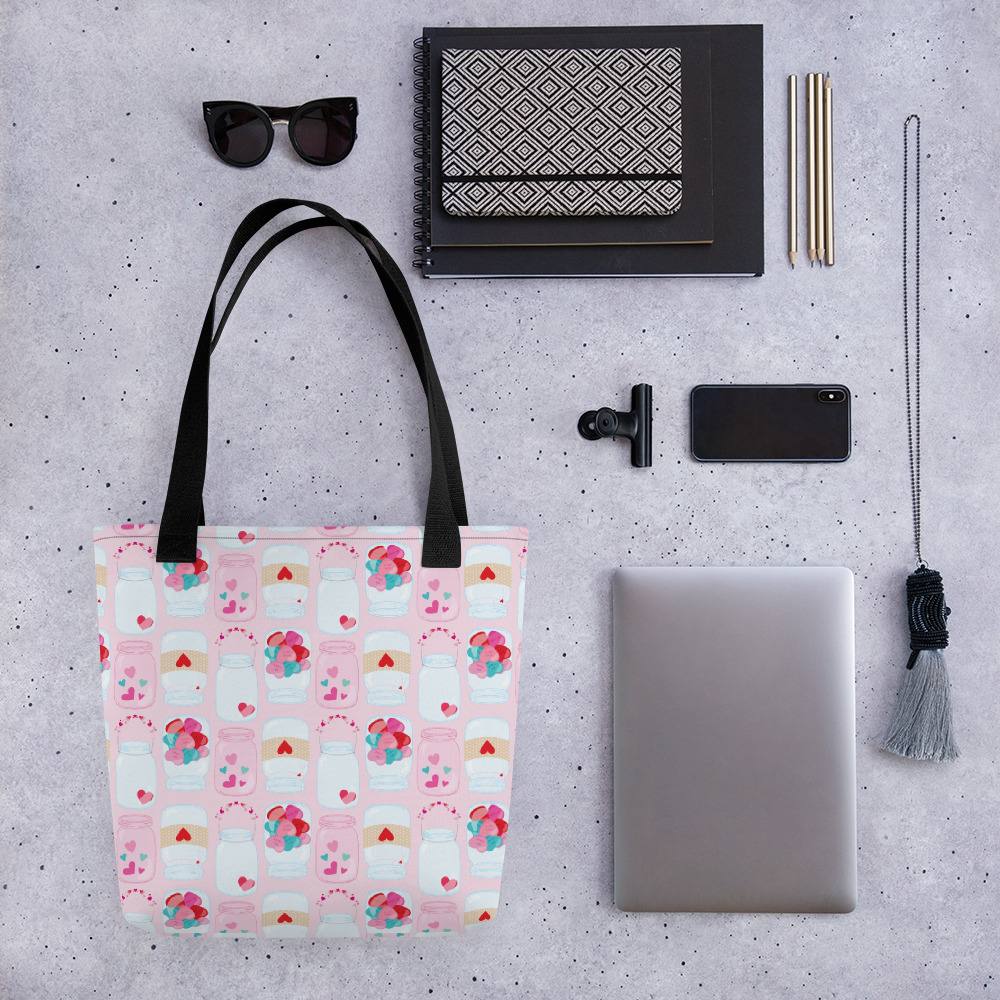 Jars Of Hearts All-Over Print Tote Bag