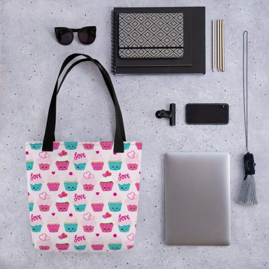 Seriously In Love With Cupcakes All-Over Print Tote Bag
