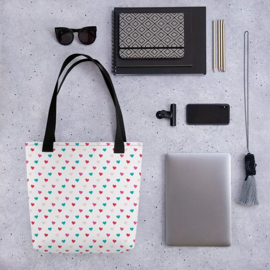 Tiny Hearts All-Over Print Tote Bag
