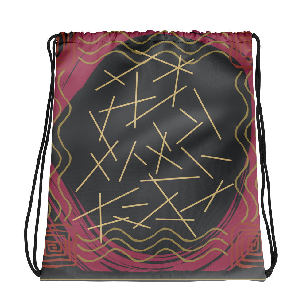 Abstract Pattern 28 All-Over Print Drawstring Bag