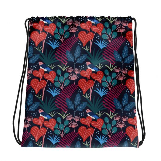 Spring Pattern Bird 16 All-Over Print Drawstring Bag