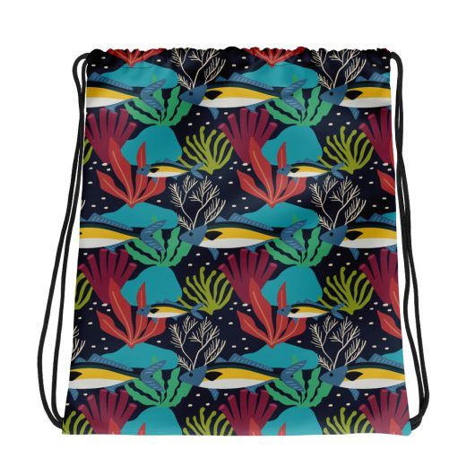 Spring Pattern Fish 2 All-Over Print Drawstring Bag