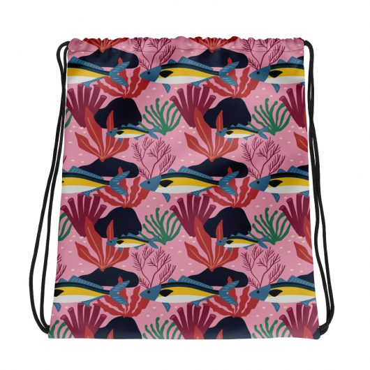 Spring Pattern Fish 5 All-Over Print Drawstring Bag