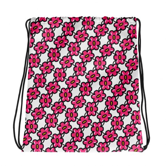 Pink Flowers One Not Too Many All-Over Print Drawstring Bag