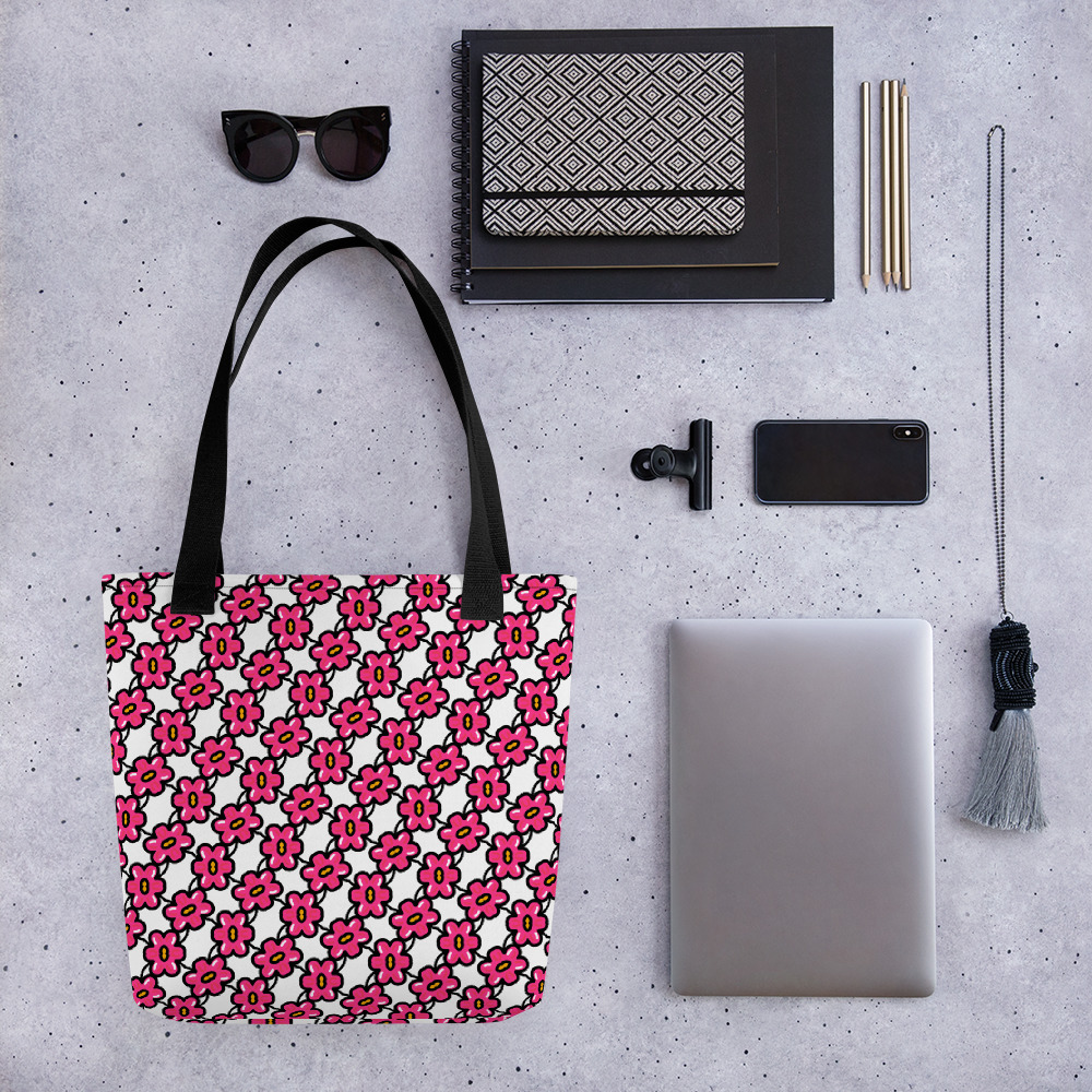 Pink Flowers One Not Too Many All-Over Print Tote Bag