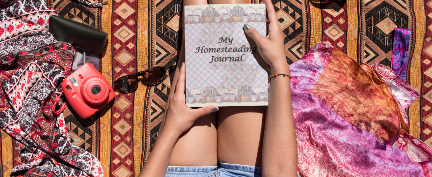 vintage homesteading journal mockup