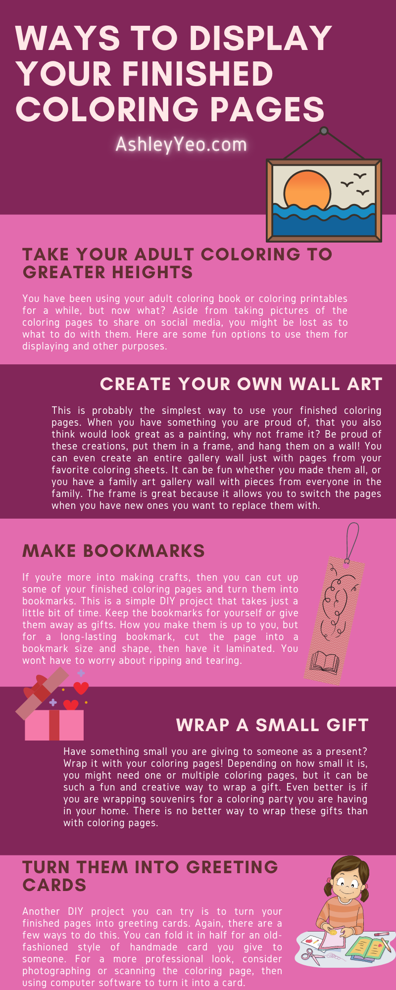 Ways to Display Your Finished Coloring Pages Infographic