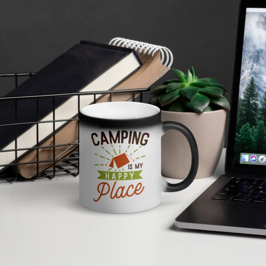 Camping Is My Happy Place Matte Black Magic Mug