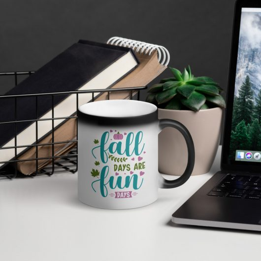 Fall Days Are Fun Days Matte Black Magic Mug