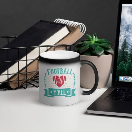 Football Fall Yall Matte Black Magic Mug