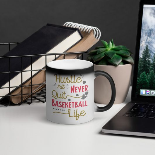 Hustle Hit Never Quit Basketball Life Matte Black Magic Mug