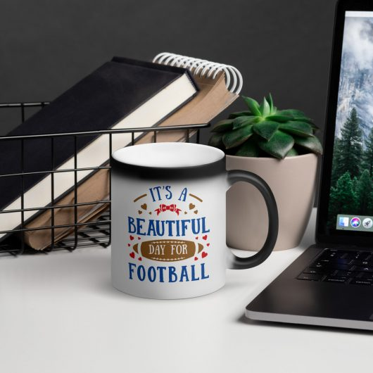 Its A Beautiful Day For Football Design 2 Matte Black Magic Mug