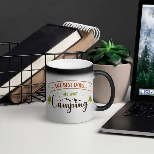 The Best Days Are Spent Camping Matte Black Magic Mug