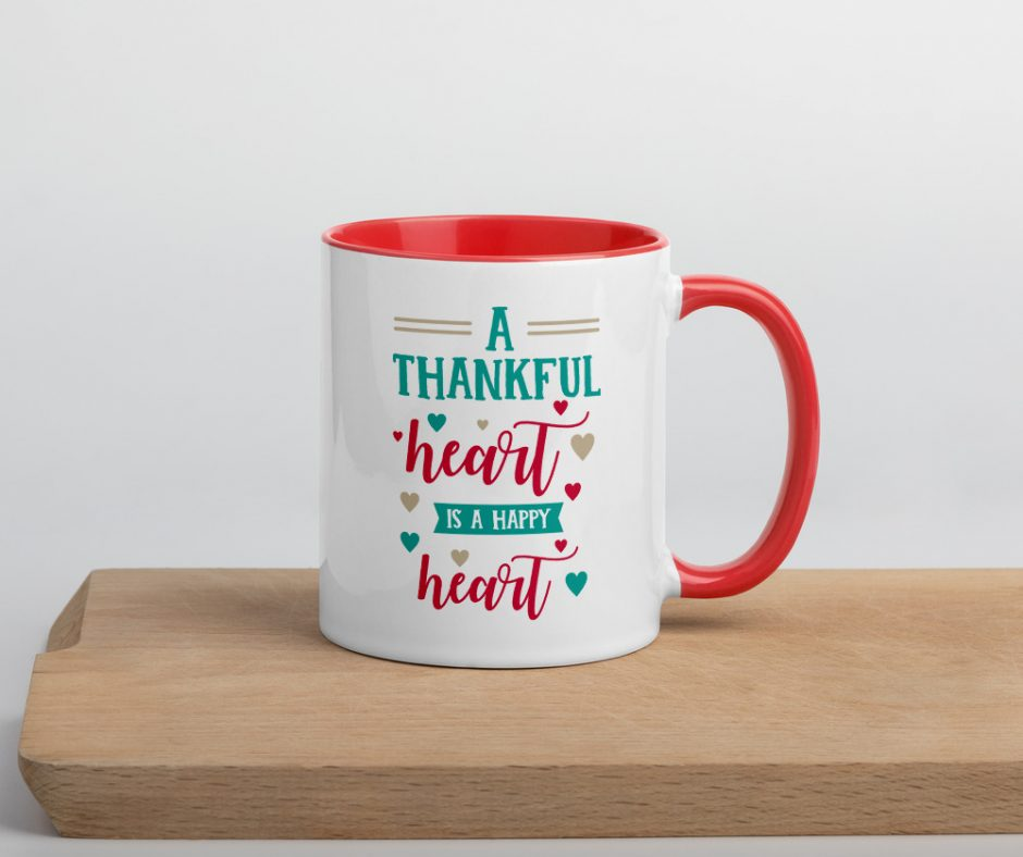A Thankful Heart Is A Happy Heart Mug with Color Inside
