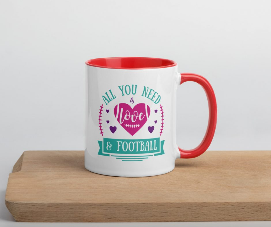 All You Need Is Love And Football Mug with Color Inside