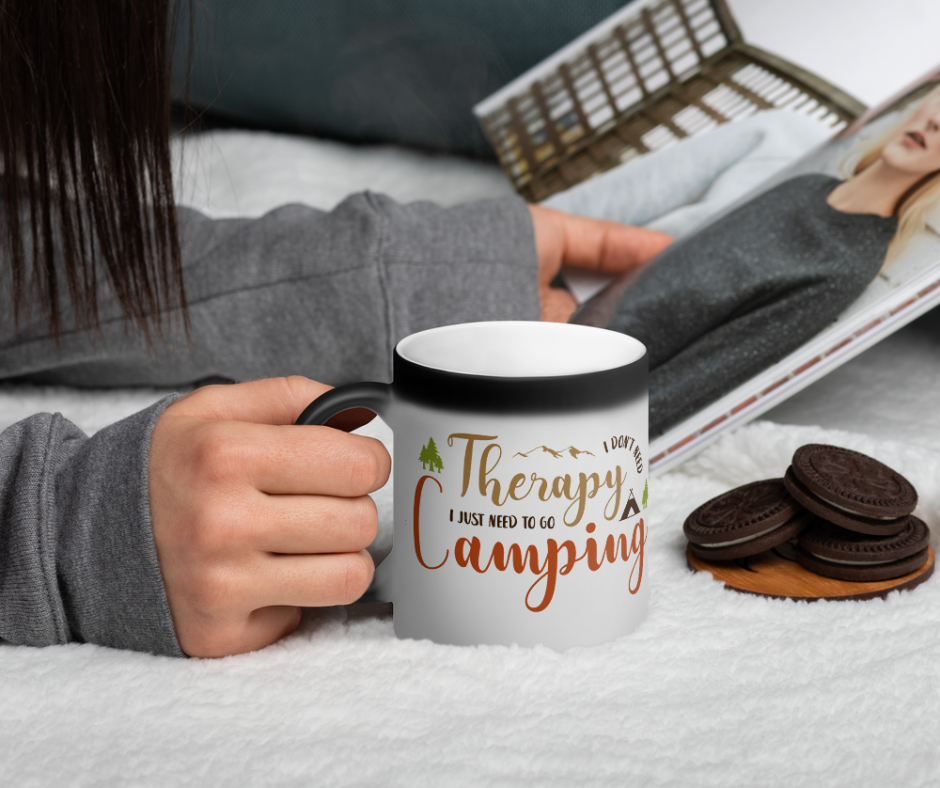 I Dont Need Therapy I Just Need To Go Camping Matte Black Magic Mug