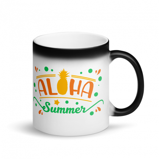 Aloha Summer Matte Black Magic Mug