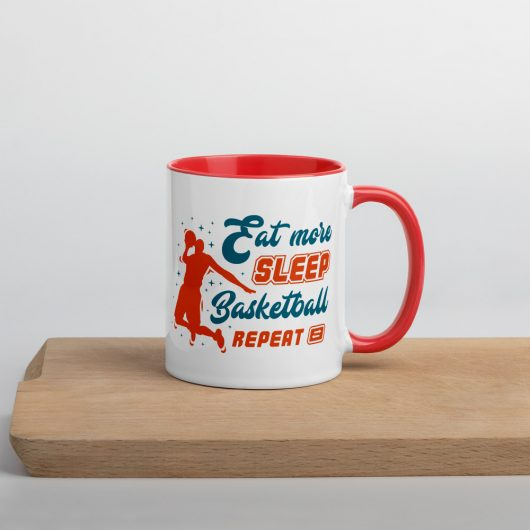 Eat More Sleep Basketball Repeat Mug with Color Inside