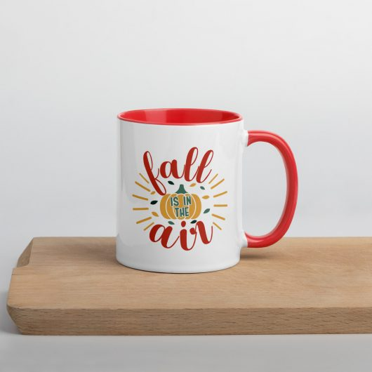 Fall Is In The Air Design 2 Mug with Color Inside