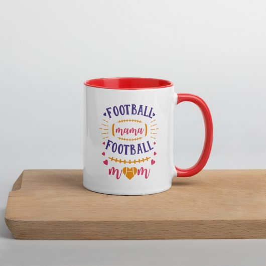 Football Mama Football Mom Design 2 Mug with Color Inside