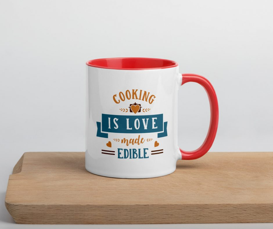 Cooking Is Love Made Edible Design 2 Mug with Color Inside