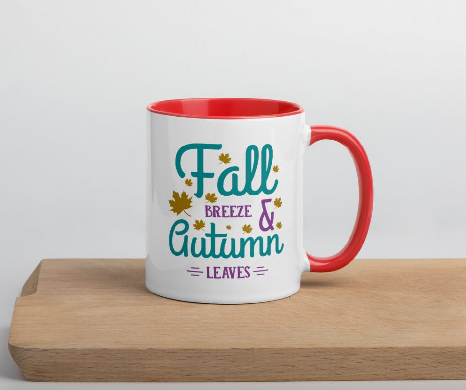 Fall Breeze And Autumn Leaves Mug with Color Inside